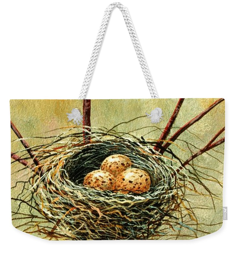 Still Life Weekender Tote Bag featuring the painting Bird Nest by Frank Wilson