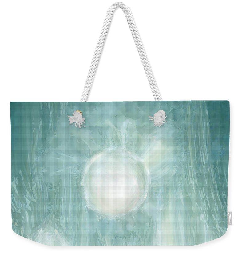 Sun Weekender Tote Bag featuring the digital art Bird Of Elysian by Linda Sannuti