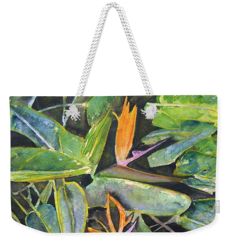 Flower Weekender Tote Bag featuring the painting Bird Of Paradise 2 by Derek Mccrea