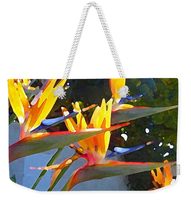 Abstract Weekender Tote Bag featuring the painting Bird Of Paradise Backlit By Sun by Amy Vangsgard