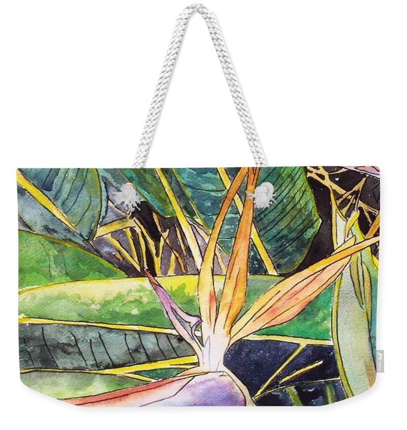 Watercolor Weekender Tote Bag featuring the painting Bird of Paradise by Derek Mccrea