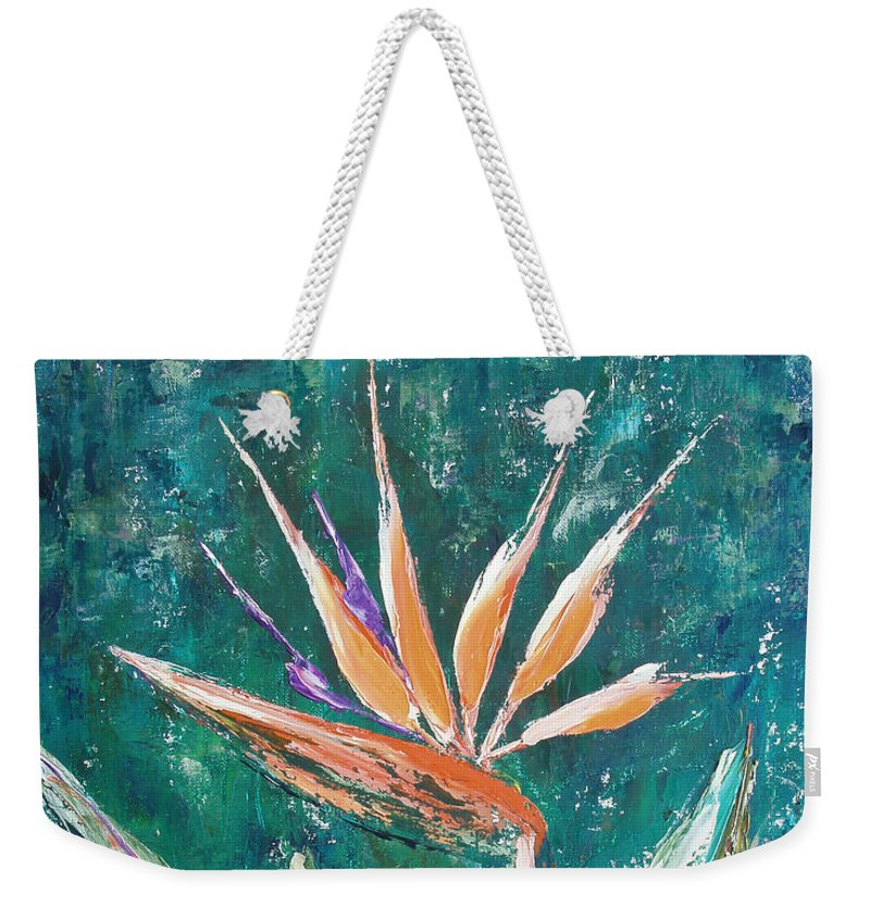 Bird Of Paradise Weekender Tote Bag featuring the painting Bird Of Paradise by Gina De Gorna