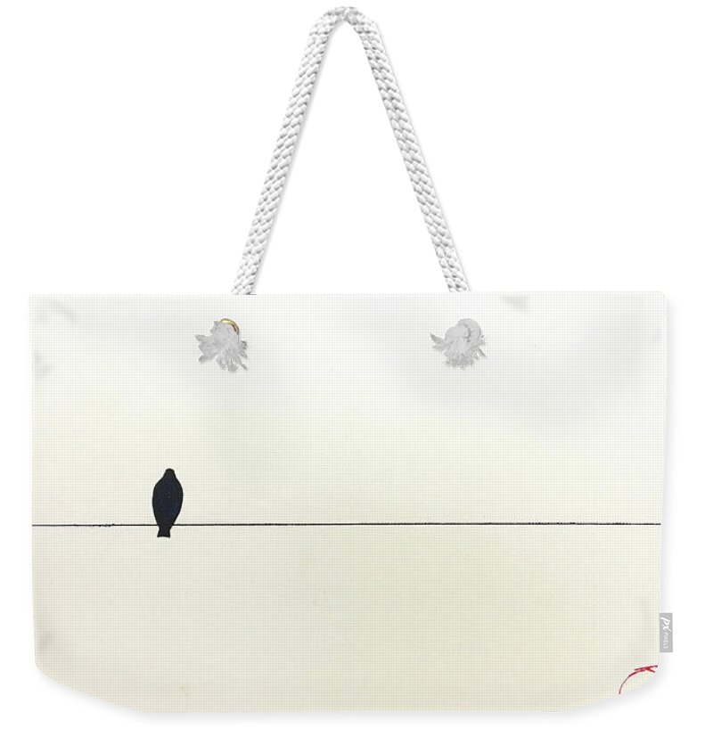 Art Weekender Tote Bag featuring the painting Bird On A Wire by Jack Diamond