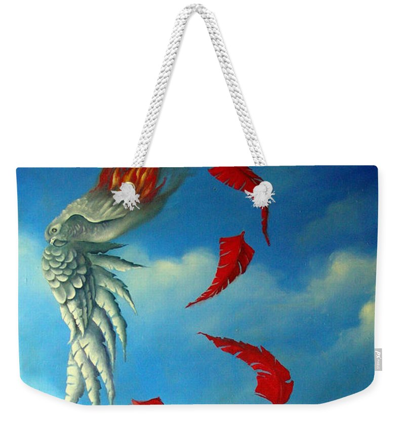Surreal Weekender Tote Bag featuring the painting Bird On Fire by Valerie Vescovi