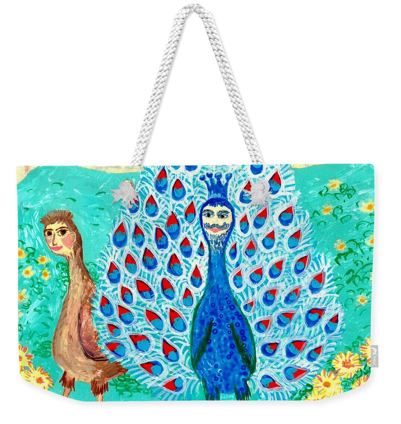 Sue Burgess Weekender Tote Bag featuring the painting Bird People Peacock King And Peahen by Sushila Burgess