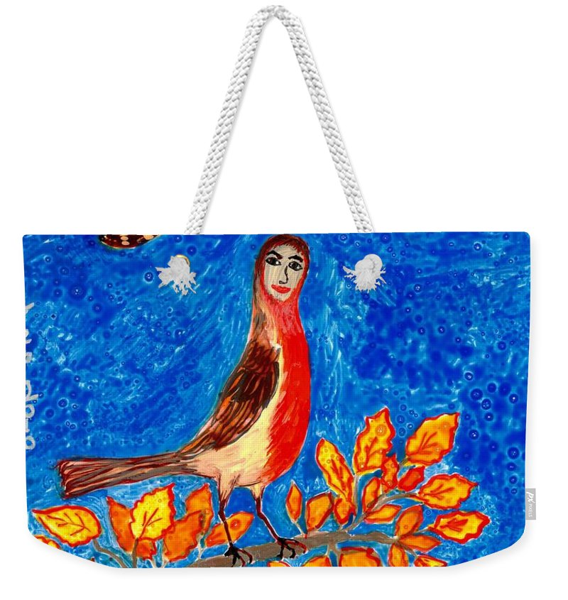 Sue Burgess Weekender Tote Bag featuring the painting Bird People Robin by Sushila Burgess