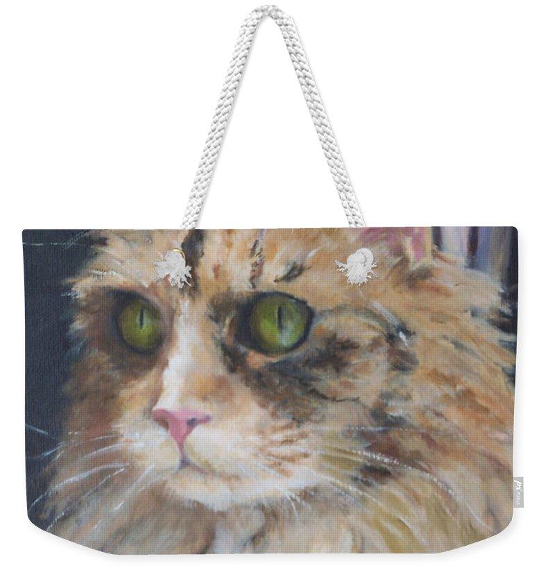 Feline Weekender Tote Bag featuring the painting Bird Watching by Alicia Drakiotes