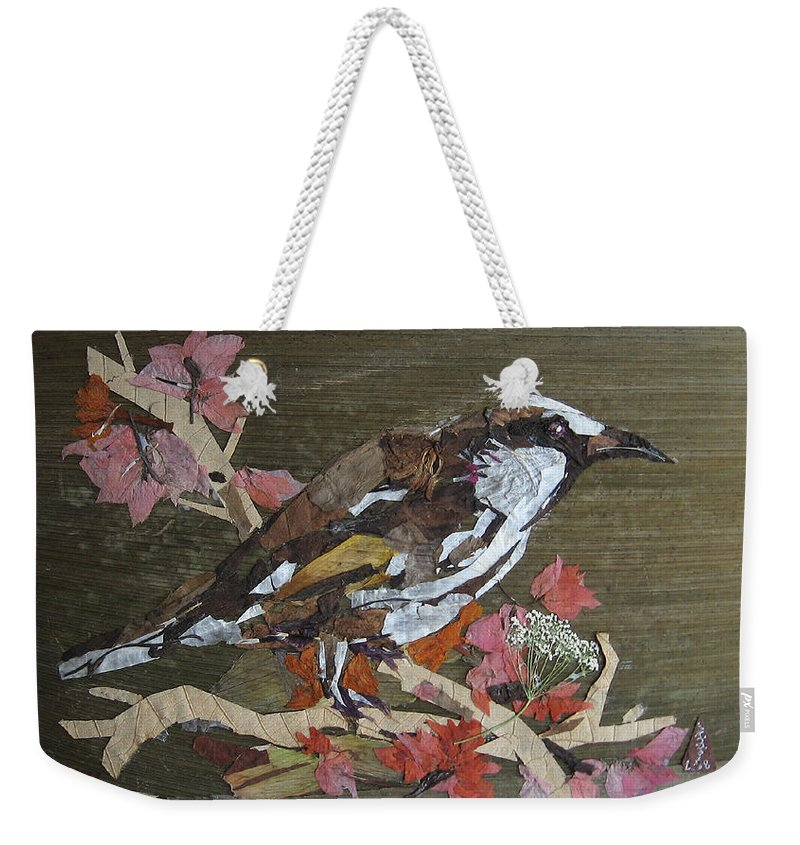 Bird Weekender Tote Bag featuring the mixed media Bird White Eye by Basant Soni