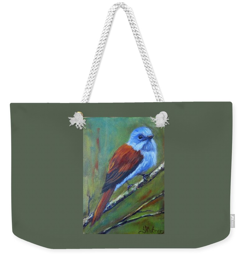Bird Weekender Tote Bag featuring the painting Monarch Flycatcher,bird by Sandra Reeves
