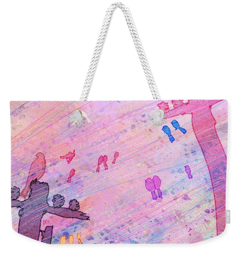 Abstract Weekender Tote Bag featuring the digital art Bird Words by Rachel Christine Nowicki