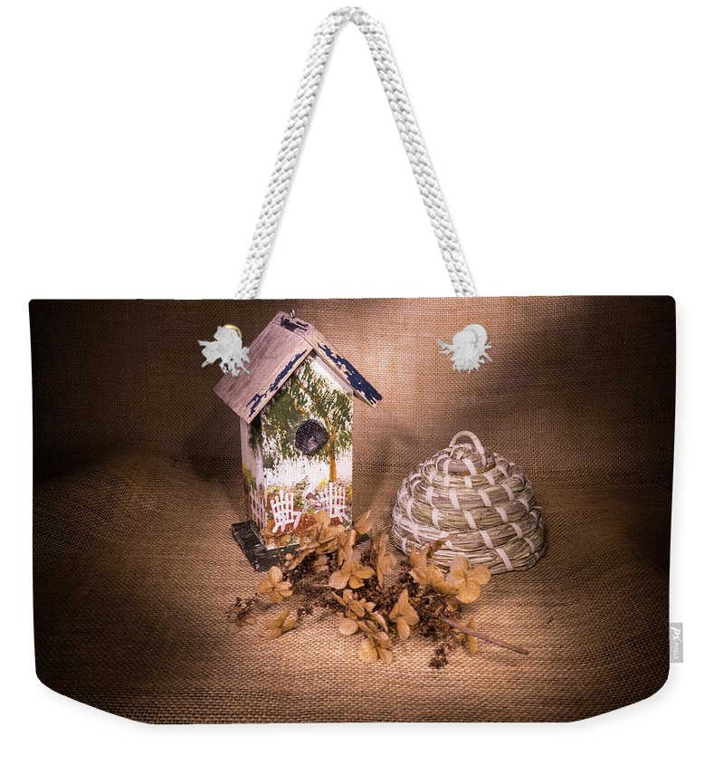 Birdhouse Weekender Tote Bag featuring the photograph Birdhouse And Behive 1 by Douglas Barnett