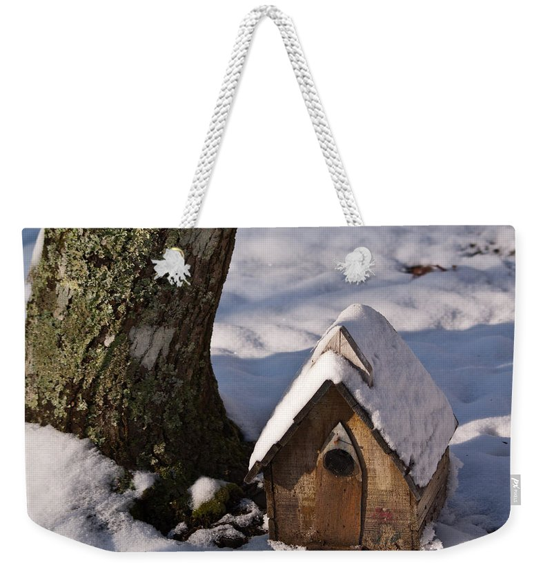 Birdhouse Weekender Tote Bag featuring the photograph Birdhouse In Snow by Douglas Barnett