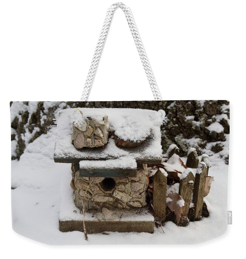 Birdhouse Weekender Tote Bag featuring the photograph Birdhouse In The Snow by Douglas Barnett