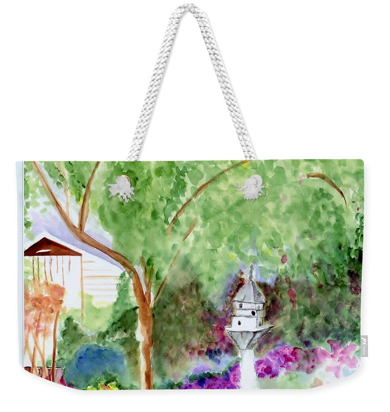 Birdhouse Weekender Tote Bag featuring the painting Birdhouse by Jamie Frier
