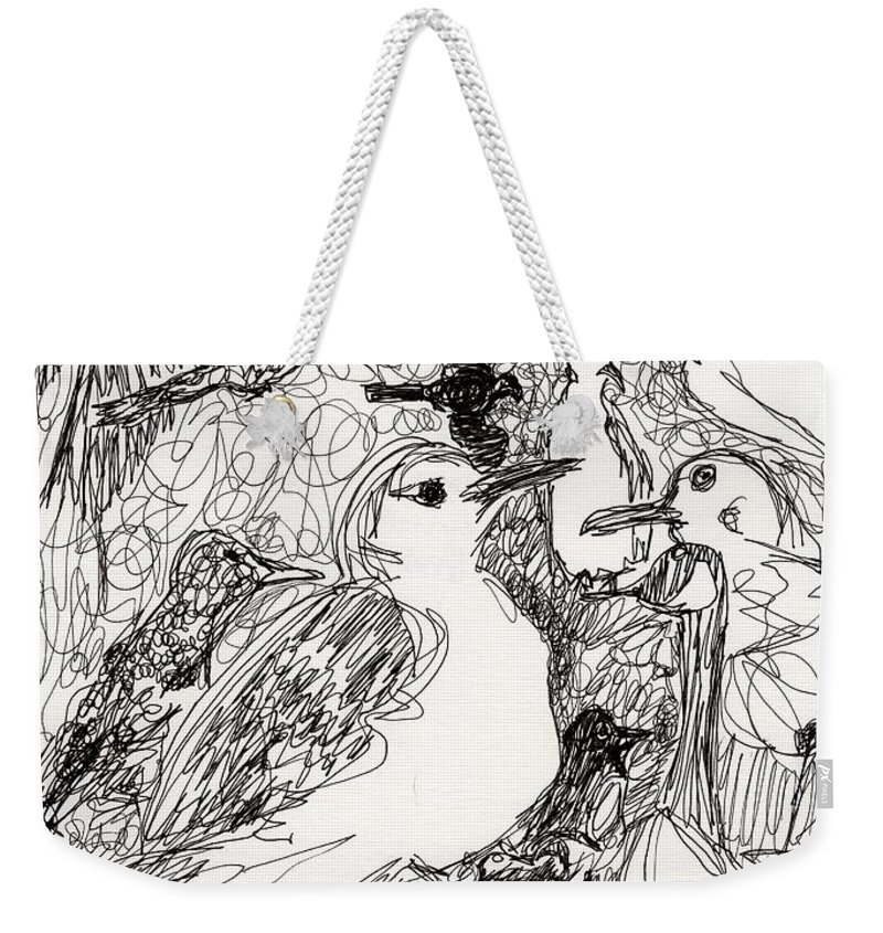 Birds Weekender Tote Bag featuring the drawing Birds by Christopher O'Kelley