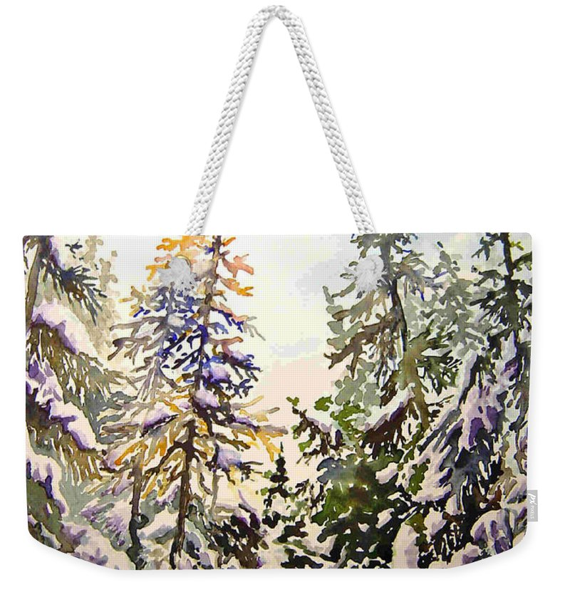 Birds Hill Provincial Park Manitoba Evergreens In Winter Weekender Tote Bag featuring the painting Birds Hill Park One Late Afternoon In January by Joanne Smoley