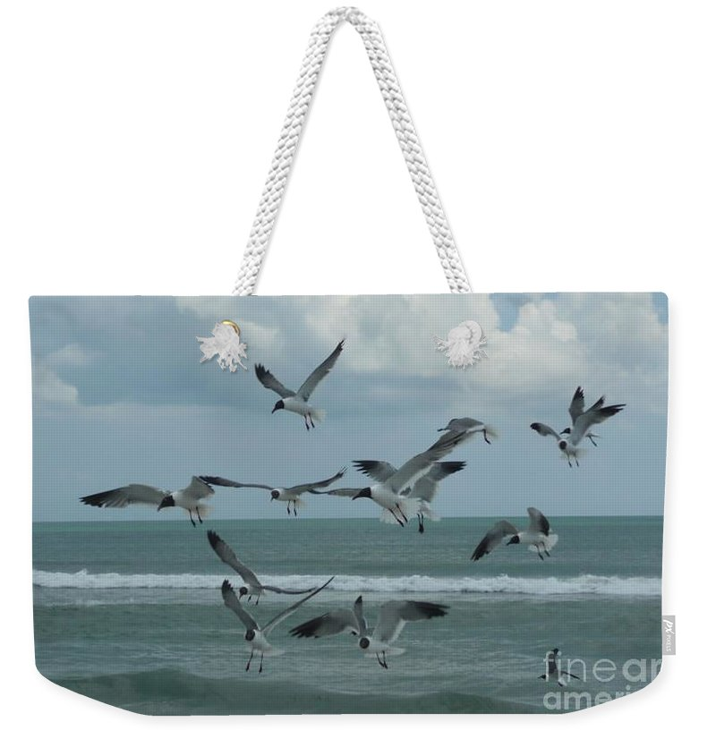 Birds Weekender Tote Bag featuring the photograph Birds In Flight by Barb Montanye Meseroll