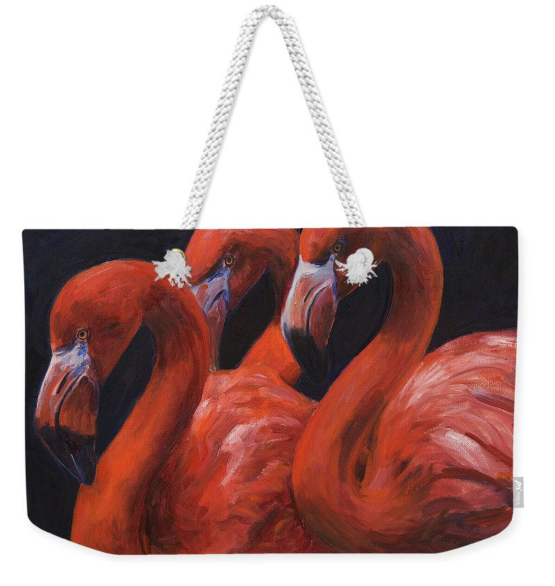 Flamingos Weekender Tote Bag featuring the painting Birds Of A Feather by Billie Colson