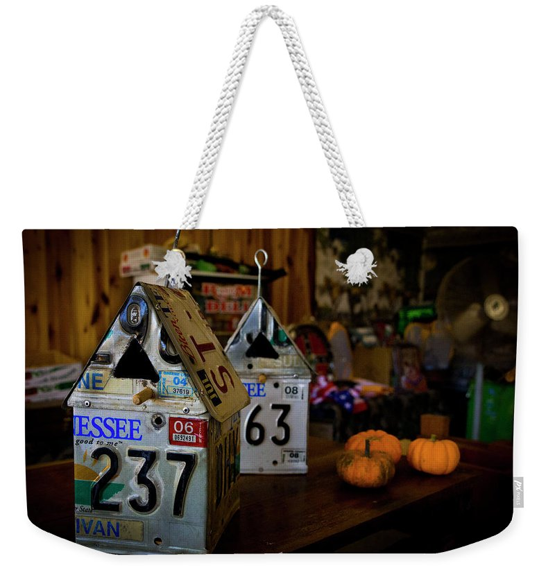 Birdhouses Weekender Tote Bag featuring the digital art Birds Of A Feather by Jeremy Rouse