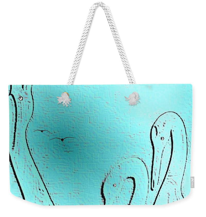 Abstract Weekender Tote Bag featuring the digital art Birds Of A Feather by Will Borden