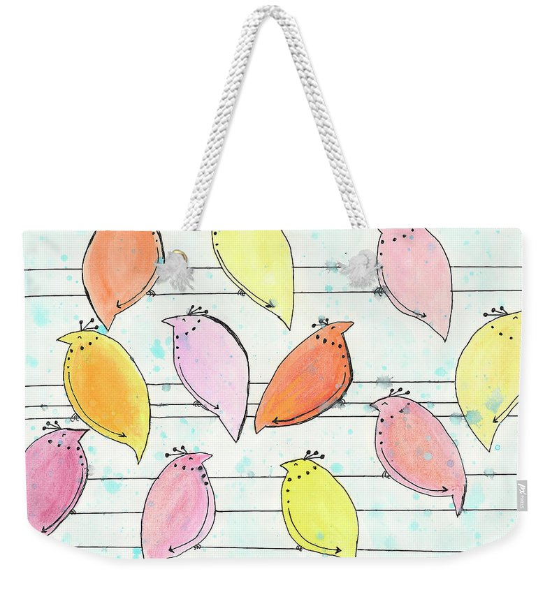 Birds Weekender Tote Bag featuring the painting Quail On A Wire by Breanna Jacobs