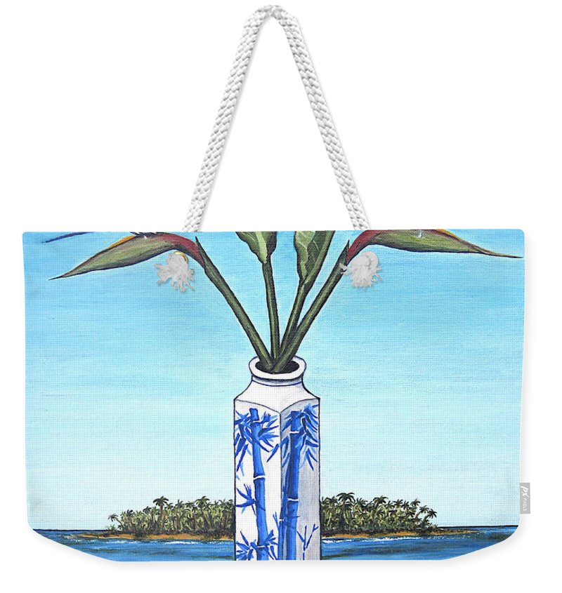Bird Of Paradise Weekender Tote Bag featuring the painting Birds Over Paradise Flowers by Jerome Stumphauzer