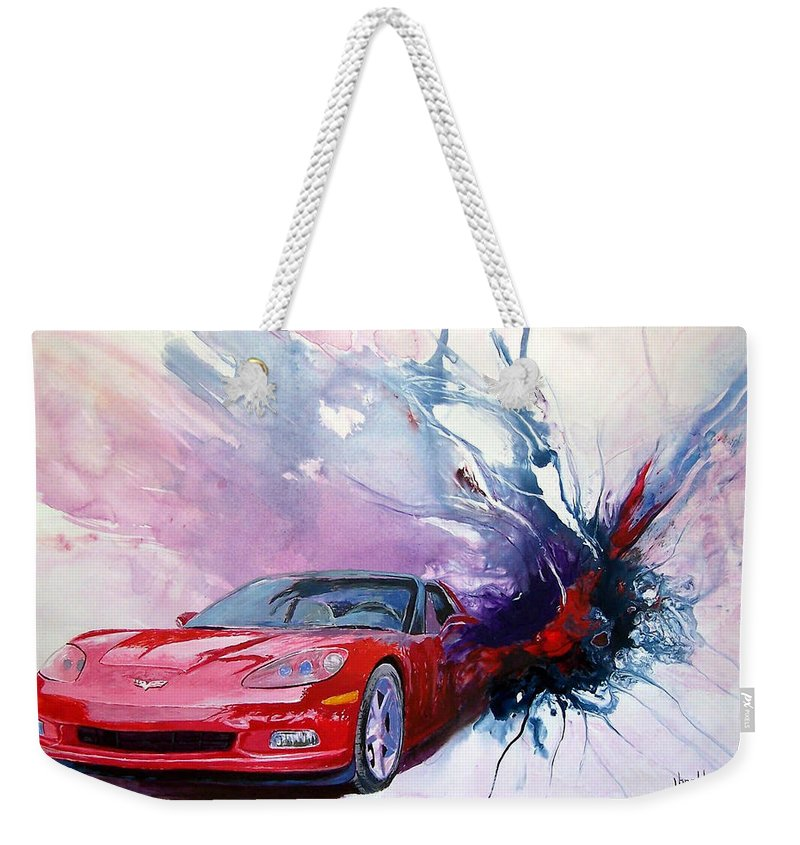 Red Corvette; C6; Weekender Tote Bag featuring the painting Birth Of A Corvette by John Gabb