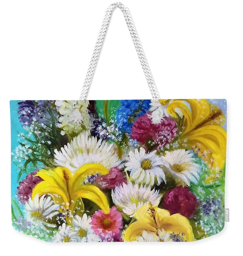 Flowers Weekender Tote Bag featuring the painting Birthday Bouquet by Ann Serianni
