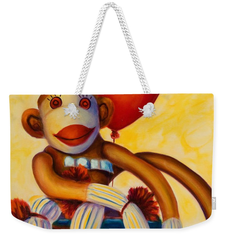 Sock Monkey Brown Weekender Tote Bag featuring the painting Birthday Made of Sockies by Shannon Grissom