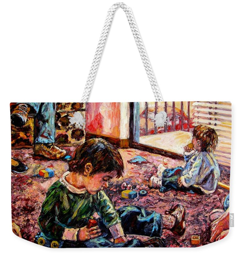 Figure Weekender Tote Bag featuring the painting Birthday Party Or A Childs View by Kendall Kessler