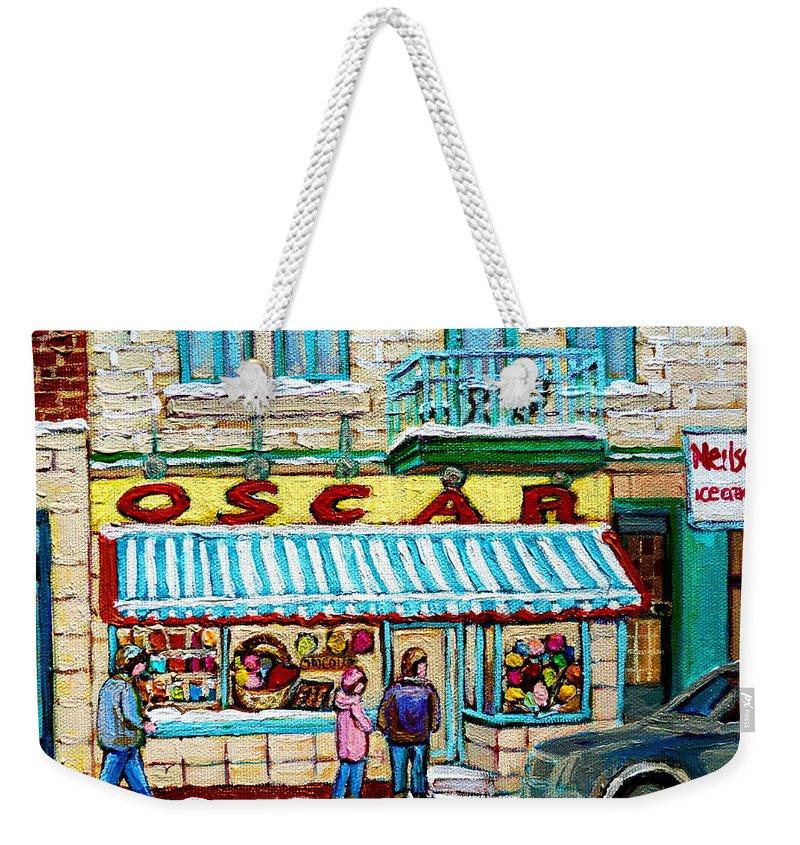 Biscuiterie Oscar Weekender Tote Bag featuring the painting Biscuiterie Oscar Rue Ontario by Carole Spandau