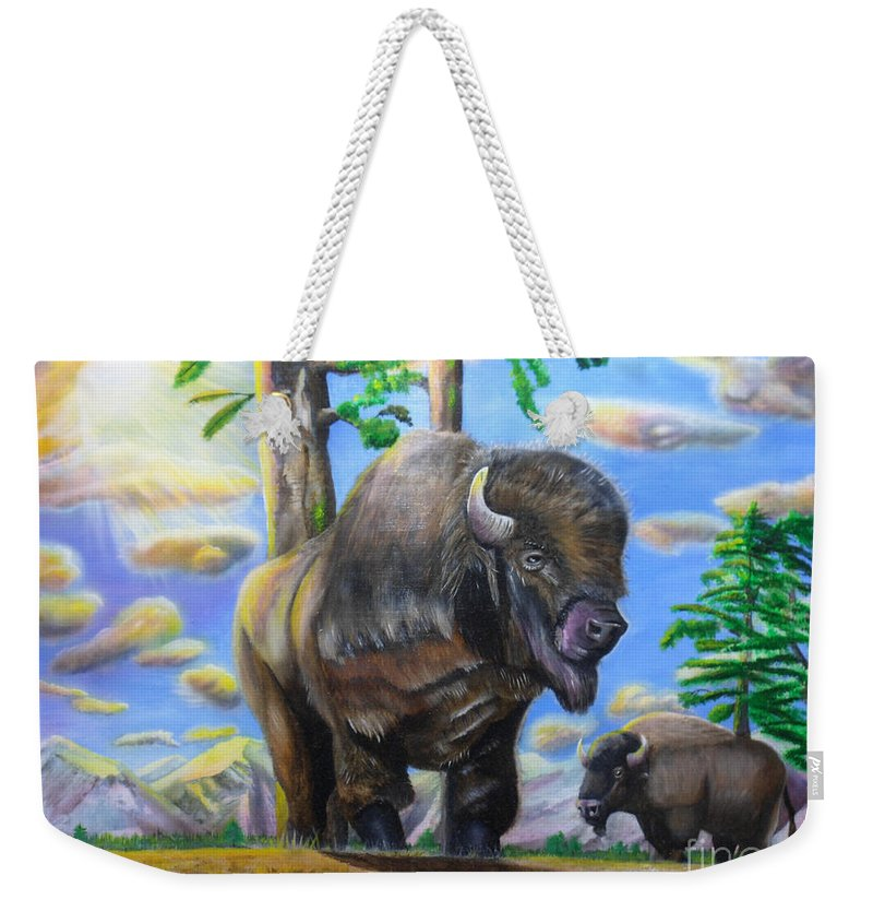 Wildlife Weekender Tote Bag featuring the painting Bison Acrylic Painting by Thomas J Herring