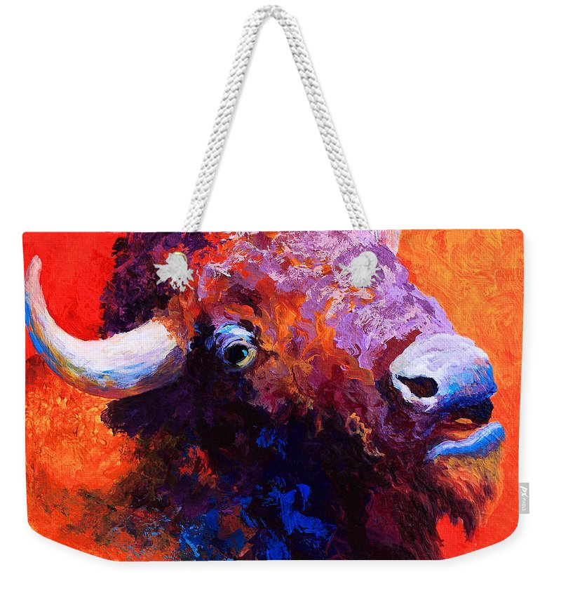 Bison Weekender Tote Bag featuring the painting Bison Attitude by Marion Rose