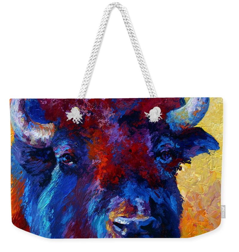 Wildlife Weekender Tote Bag featuring the painting Bison Boss by Marion Rose