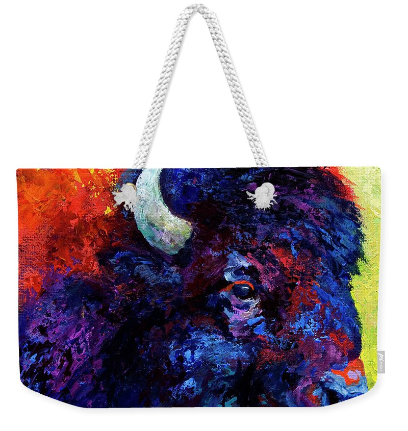 Bison Weekender Tote Bag featuring the painting Bison Head Color Study IIi by Marion Rose