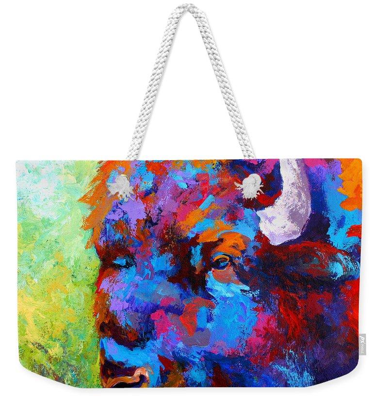 Wildlife Weekender Tote Bag featuring the painting Bison Head II by Marion Rose