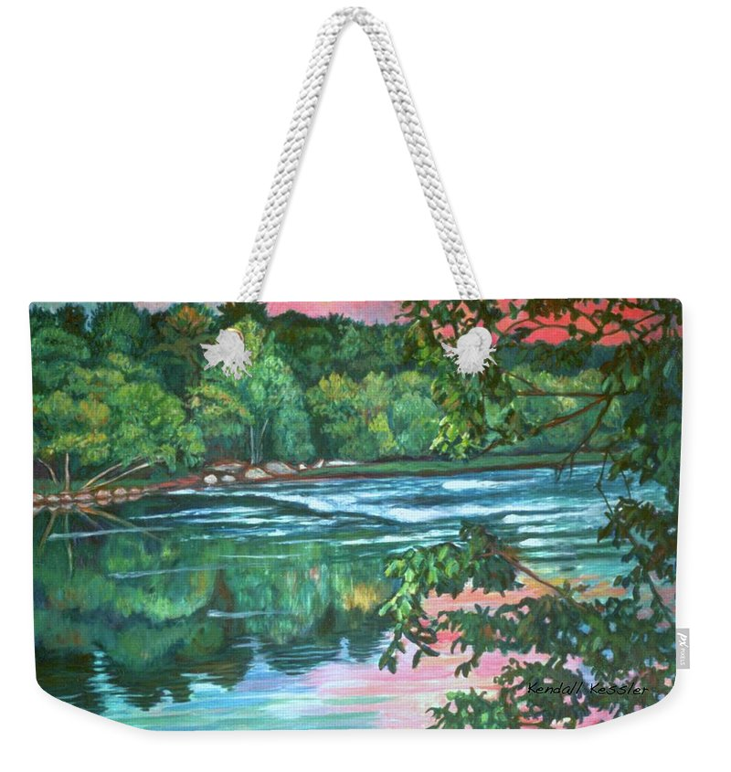 River Weekender Tote Bag featuring the painting Bisset Park Rapids by Kendall Kessler