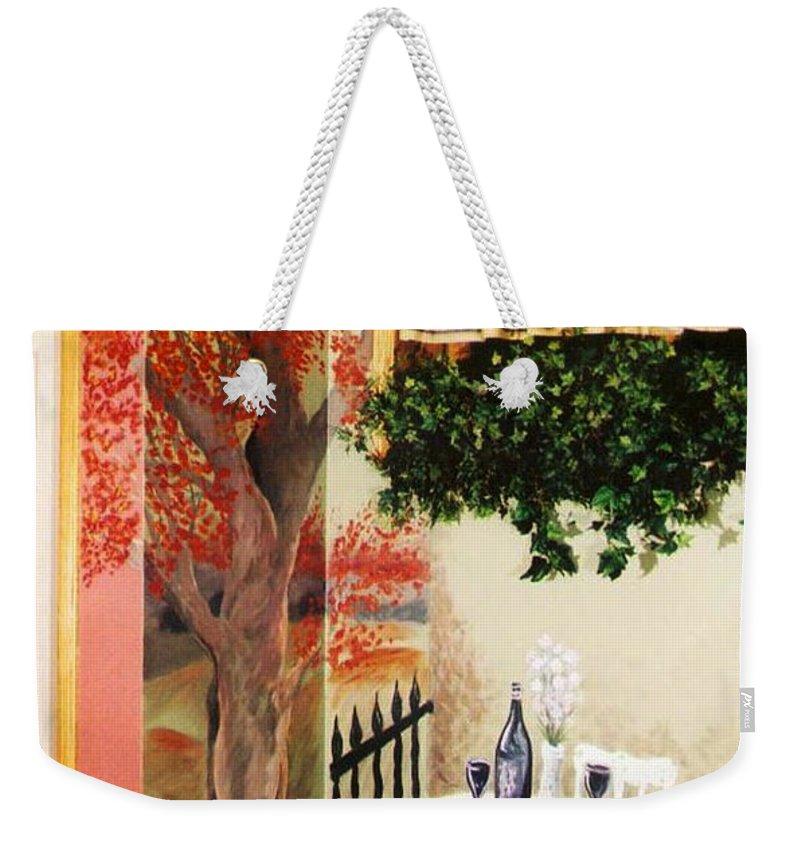 Mural Weekender Tote Bag featuring the painting Bistro Mural Detail 2 by Rachel Christine Nowicki