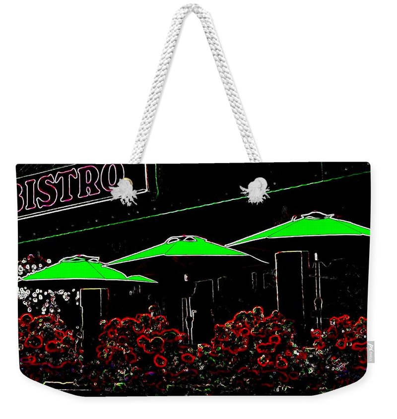 Abstract Weekender Tote Bag featuring the digital art Bistro by Will Borden