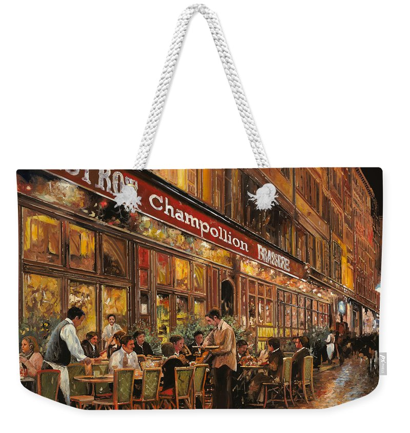 Street Scene Weekender Tote Bag featuring the painting Bistrot Champollion by Guido Borelli