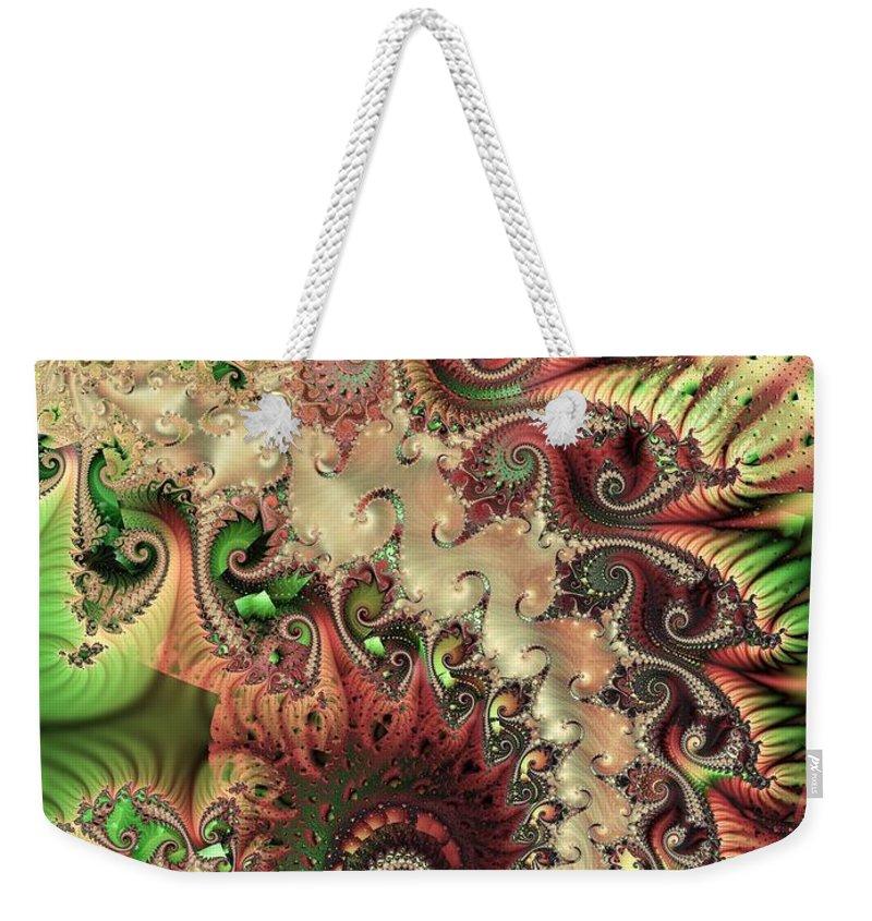Spiral Weekender Tote Bag featuring the digital art Bisymmetric Spiral Spring by Ron Bissett