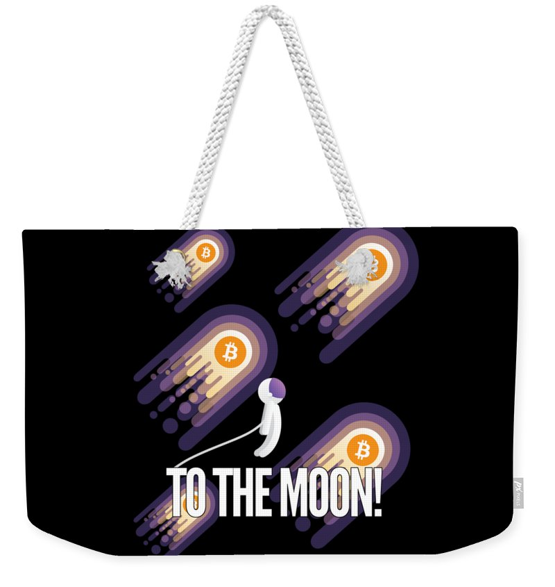 Bitcoin Weekender Tote Bag featuring the drawing Bitcoin To The Moon Astronaut Cryptocurrency Humor Funny Space Crypto by Cameron Fulton
