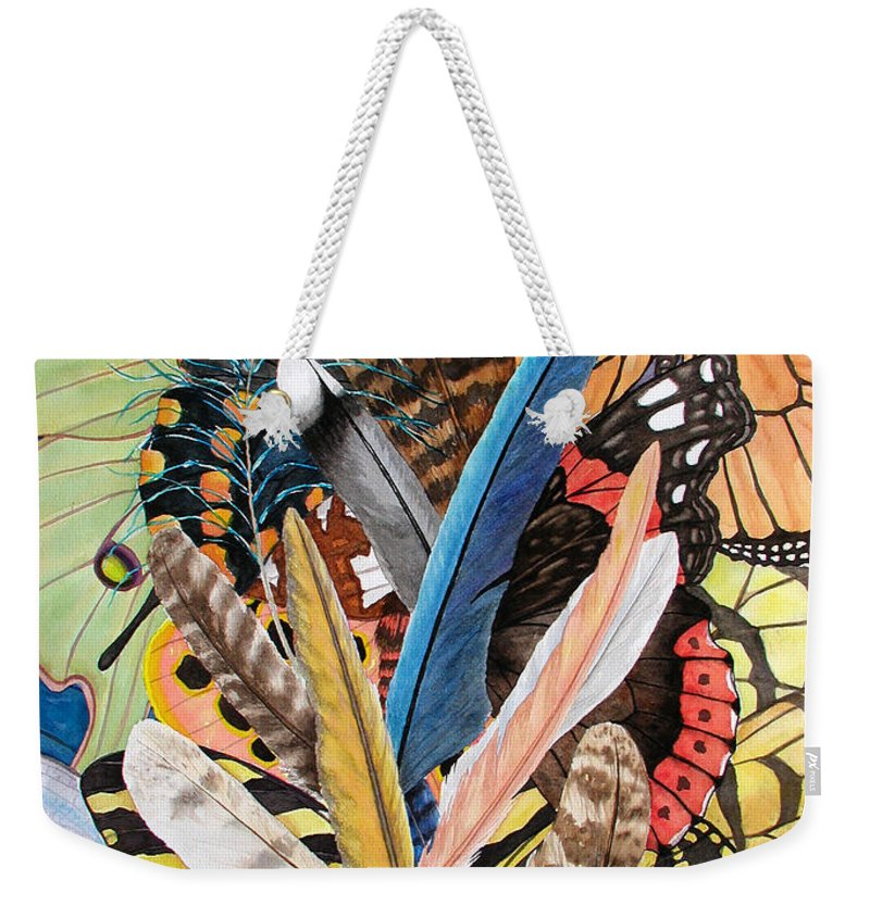 Feathers Weekender Tote Bag featuring the painting Bits of Flight by Lucy Arnold