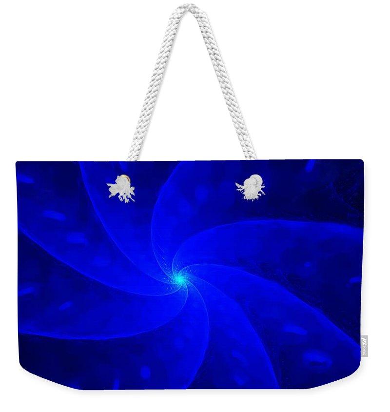 Abstract Weekender Tote Bag featuring the digital art Bkue Pinwheel by David Lane