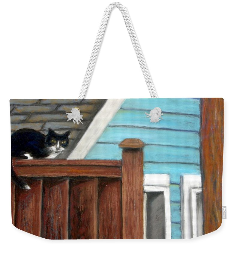 Cat Weekender Tote Bag featuring the painting Black Alley Cat by Minaz Jantz
