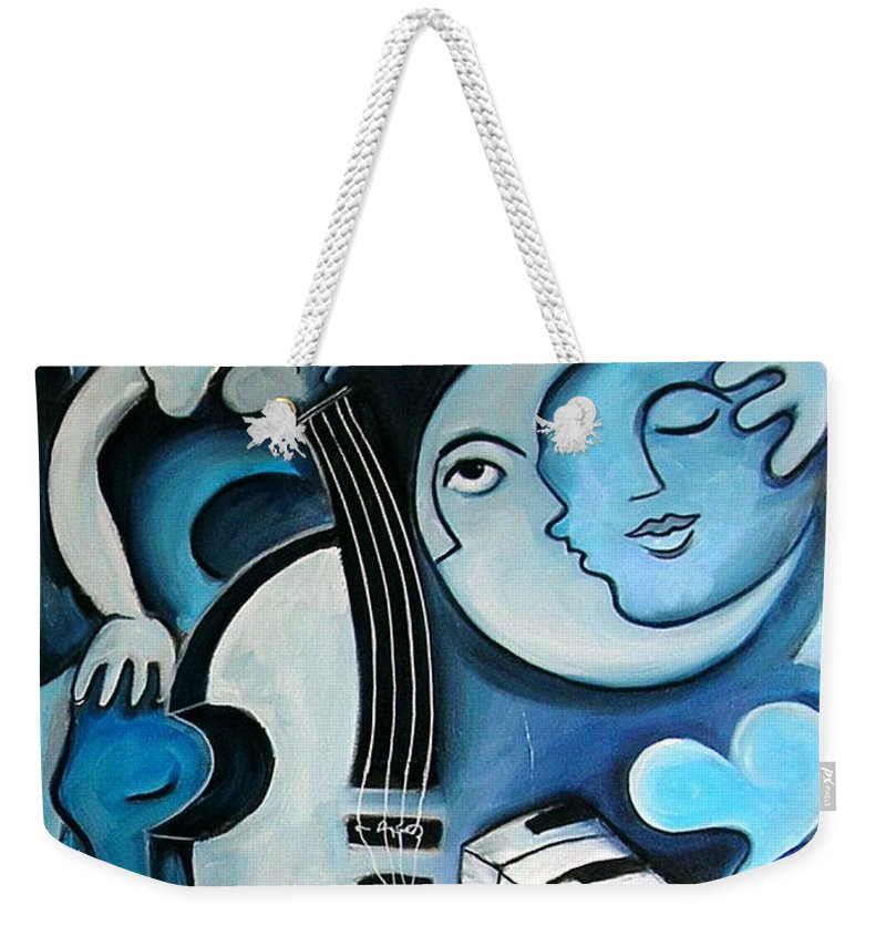Abstract Weekender Tote Bag featuring the painting Black And Bleu by Valerie Vescovi