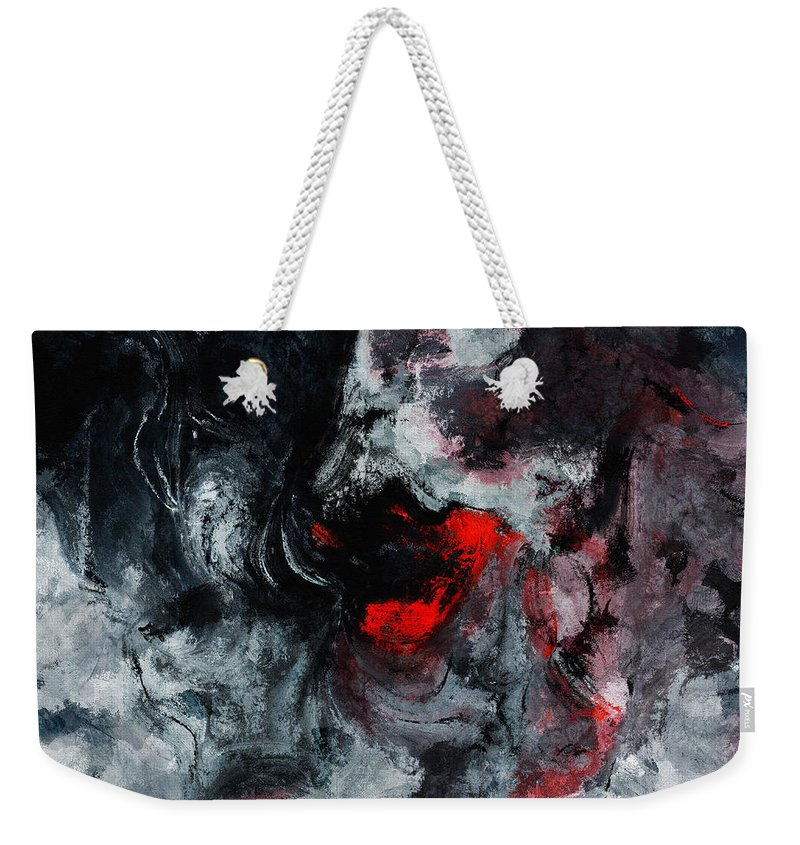 Abstract Weekender Tote Bag featuring the painting Black And Red Abstract Painting by Inspirowl Design