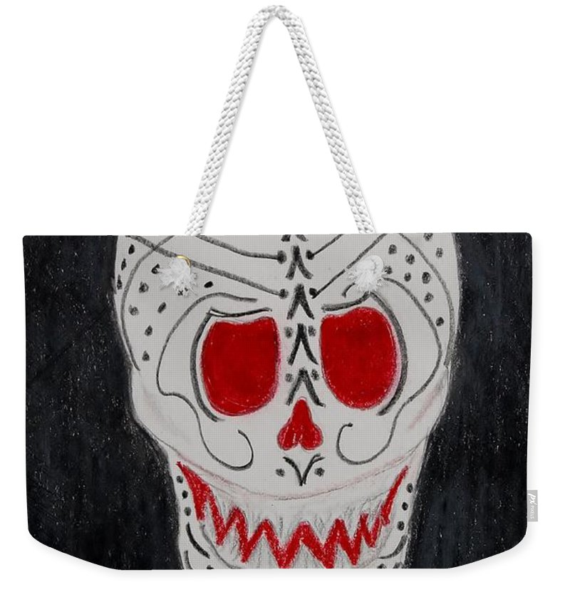 Skull Weekender Tote Bag featuring the mixed media Black And Red by Charla Van Vlack