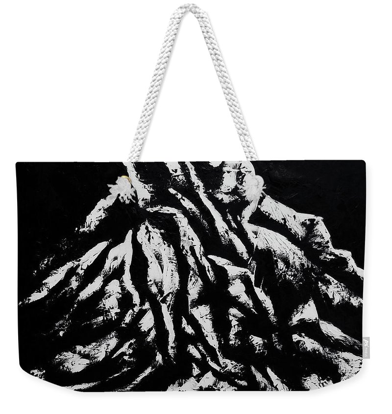 Weekender Tote Bag featuring the painting Black and White 1 by Ara Elena