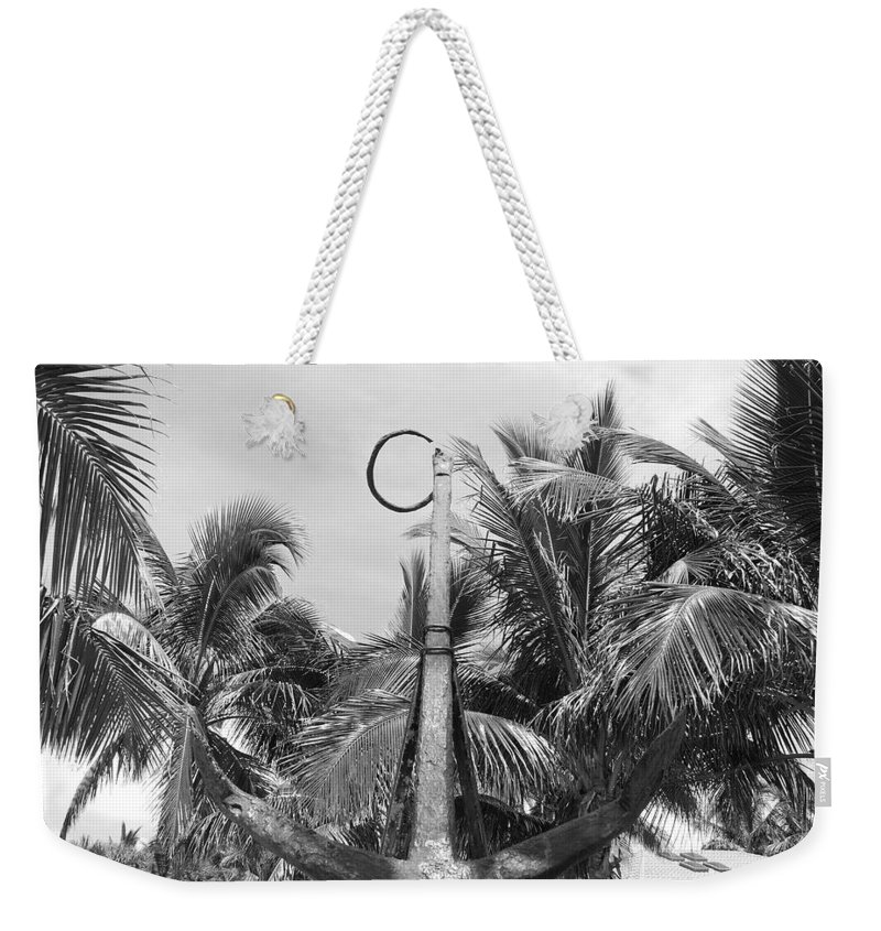 Black And White Weekender Tote Bag featuring the photograph Black And White Anchor by Rob Hans